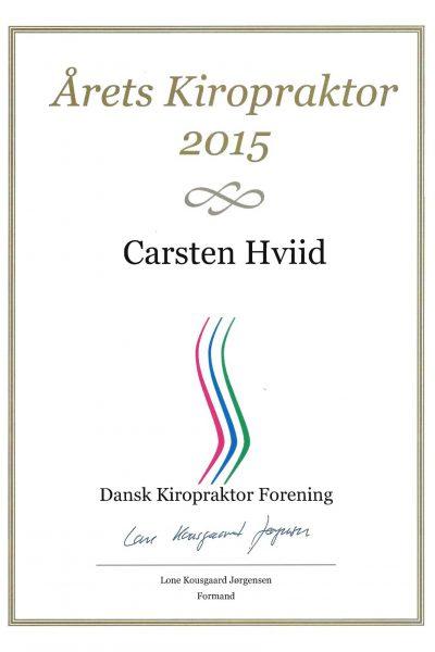 Diplom aarets kiropraktor 2015 Carsten Hviid