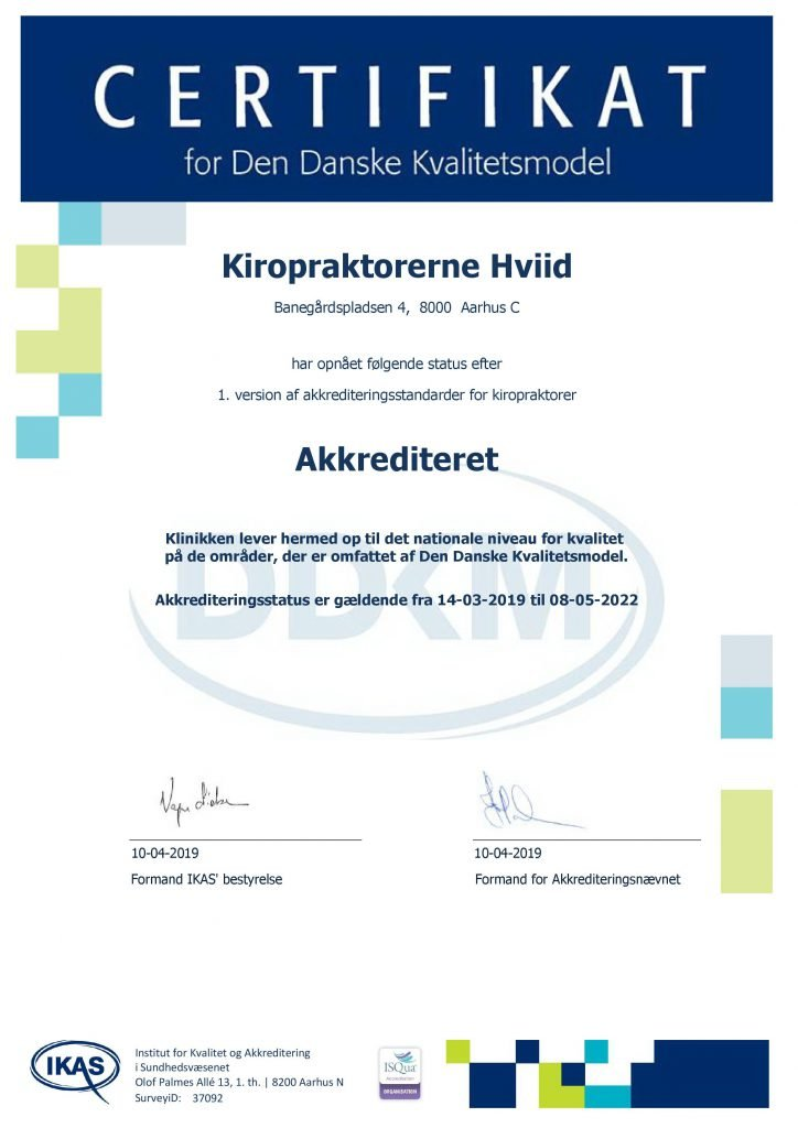 Kiropraktorerne Hviid Banegrdspladsen 4 8000 Aarhus C Certifikat